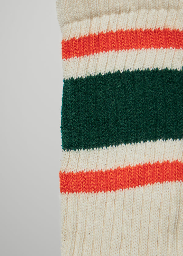 Retro Stripe Socks - Green/Orange