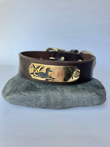 Dog Collar - Ducks/Brass