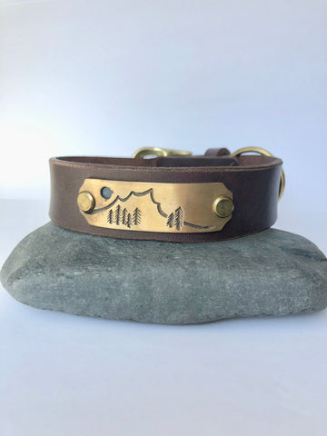 Dog Collar - Mountains/Brass