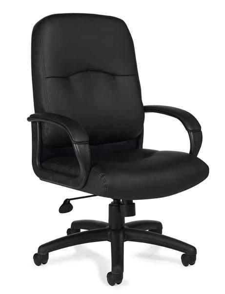 Black Leather Luxhide Executive Chair with Padded Armrests