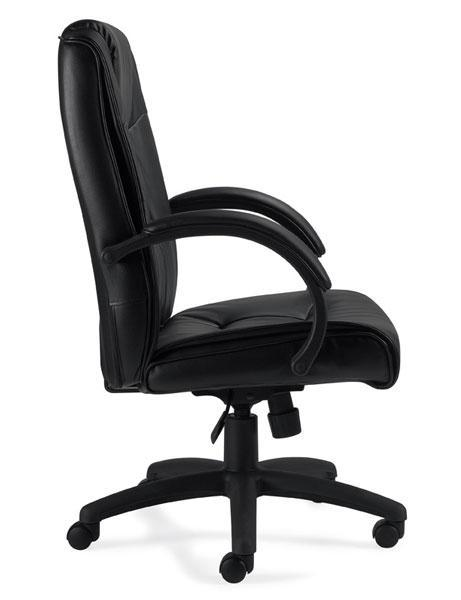 Black Leather Luxhide Executive Chair with Padded Armrests and Integral Headrest
