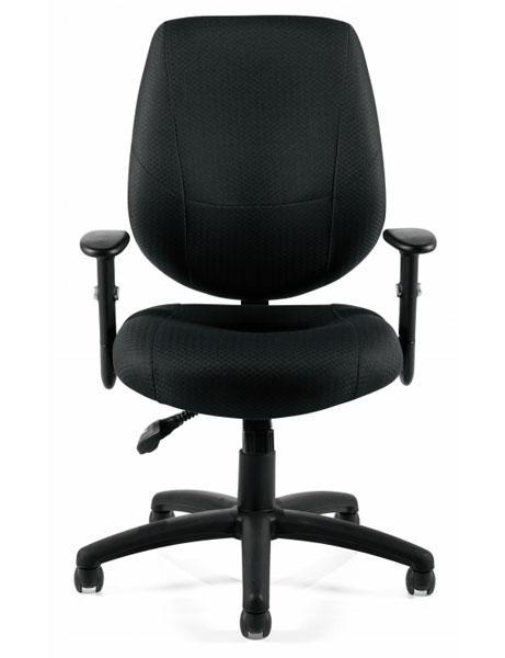 Adjustable Pneumatic Ergonomic Chair with Height Adjustable Armrests in Black Fabric