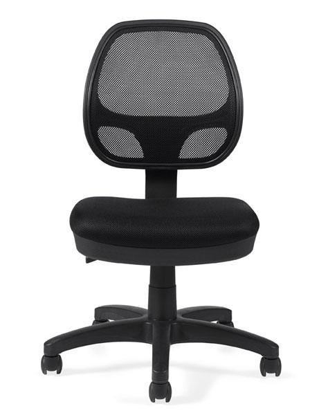 Offices To Go Armless Mesh Back Task Chair in Black