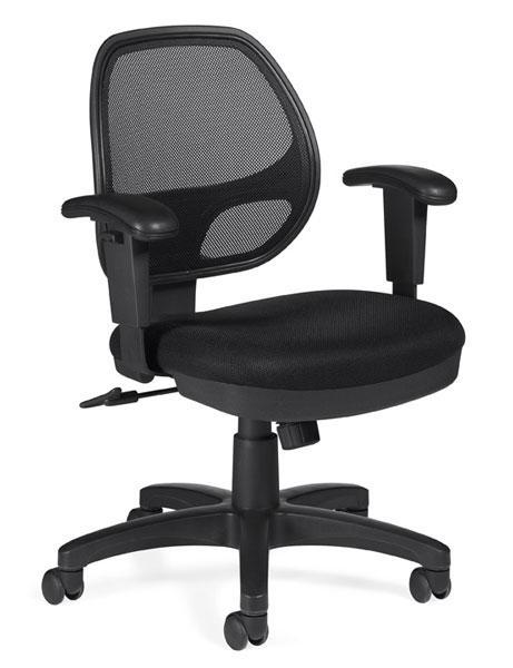 Mesh Back Tilter Chair with Arms in Black