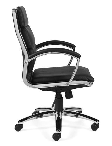 Black Leather Luxhide Multi-Function Chair with Arms