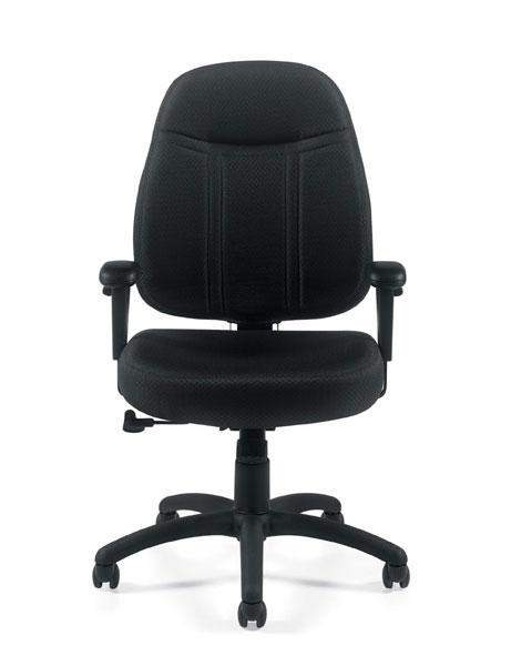 Medium Back Pneumatic Tilter Chair with Height Adjustable Armrests in Black Patterned Fabric