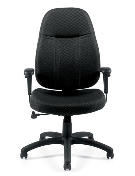 High Back Pneumatic Tilter Chair with Height Adjustable Armrests in Durable Black Patterned Fabric