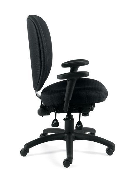 Multi-Function Pneumatic Chair with Height Adjustable Armrests and Pivot Feature in Black Fabric