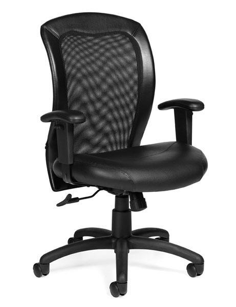 Luxhide Mesh Back Adjustable Ergonomic Chair with Arms