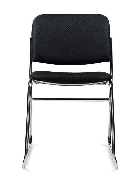 Stack Chair Without Arms in Black Fabric