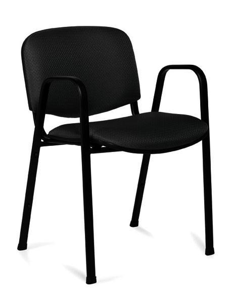 Stacking Chair with Arms in Black Patterned Fabric