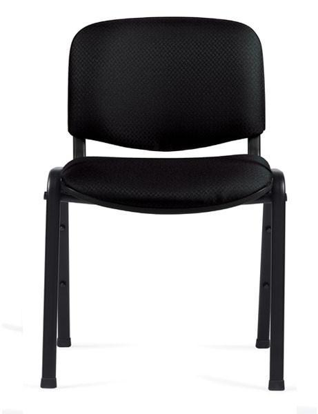 Armless Stack Chair in Black Fabric