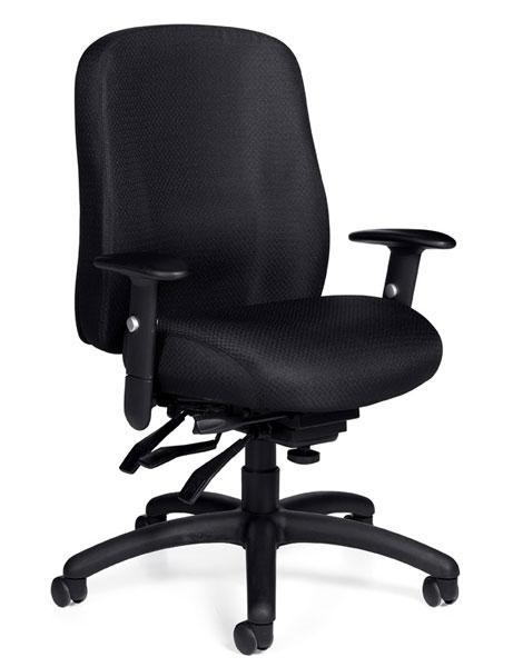 Medium Back Multi-Tilter Chair with Height and Width Adjustable Arms in Black Fabric