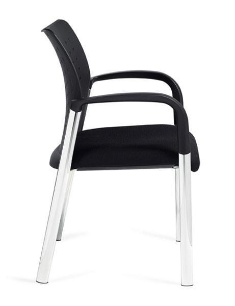 Mesh Stacking Occasional Chair with Arms in Black Plastic and Black Mesh Fabric