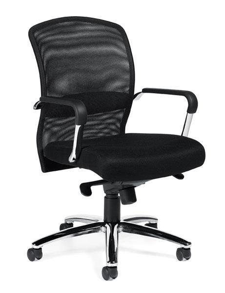 Pneumatic Tilter Mesh Back Executive Chair with Fixed Height Molded Arms and Padded Armrests