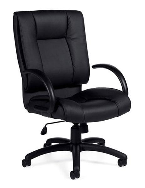 Black Leather Luxhide High Back Tilter Chair with Arms