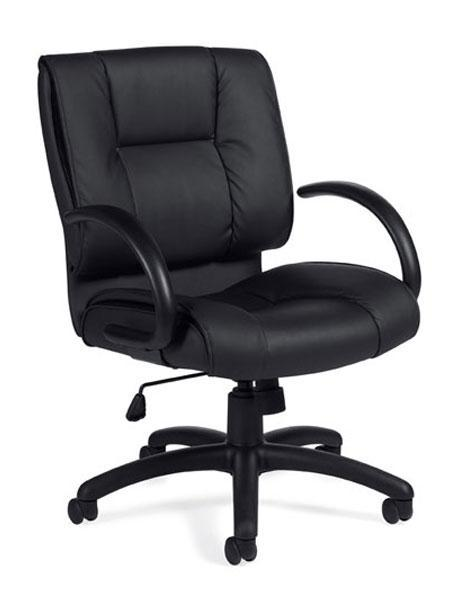 Black Leather Luxhide Mid Back Tilter Chair with Arms