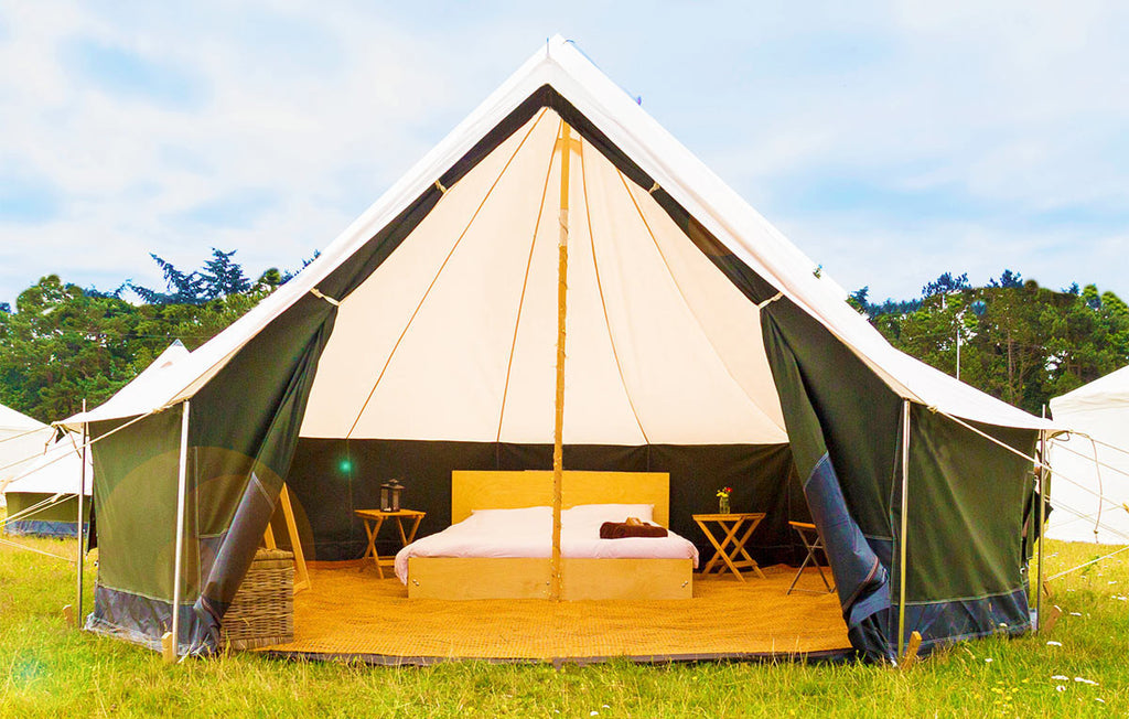 Deluxe Bell Tent for 3 (1 Continental Twin + 1 Single Bed) Private Occasion - Yurtel - The Finest Luxury Boutique Camping in the Land