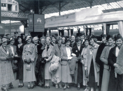 Group at Railway Station greeting card