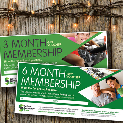 3 & 6 month gym memberships