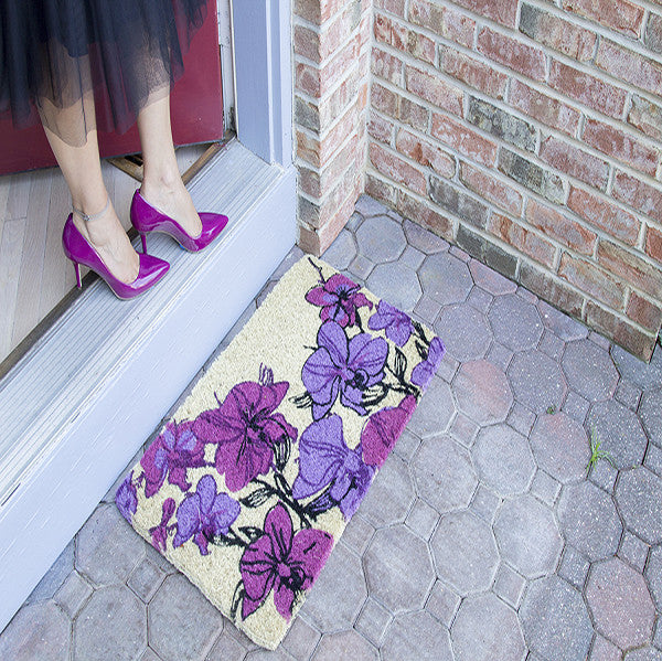 HAND DRAWN ORCHIDS - COCO DOORMAT