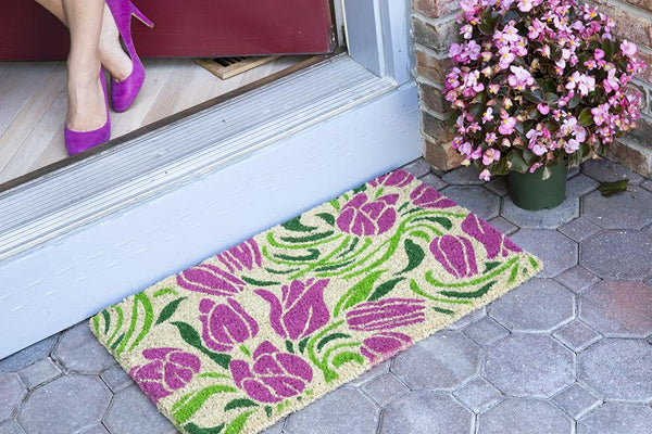 Blushing Tulips Handwoven Coco Doormat
