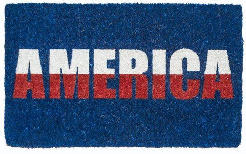 Coir doormat with blue background and America written in white and red