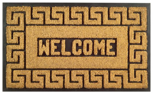 Welcome Greek Rubber Coir Doormat