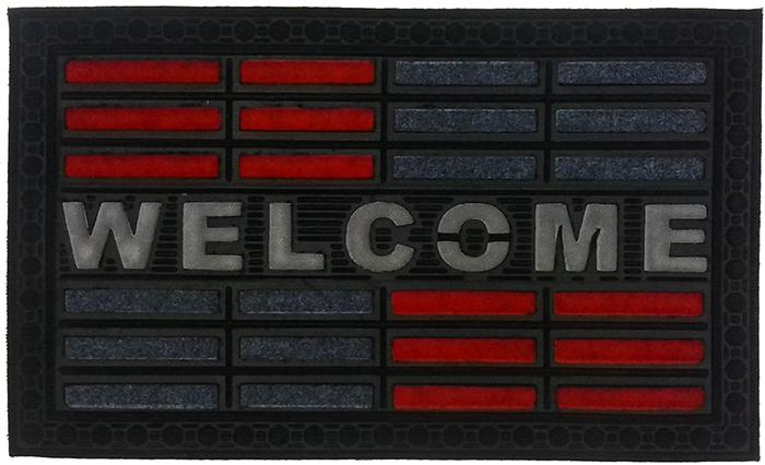 Welcome Red Synthetic Doormat