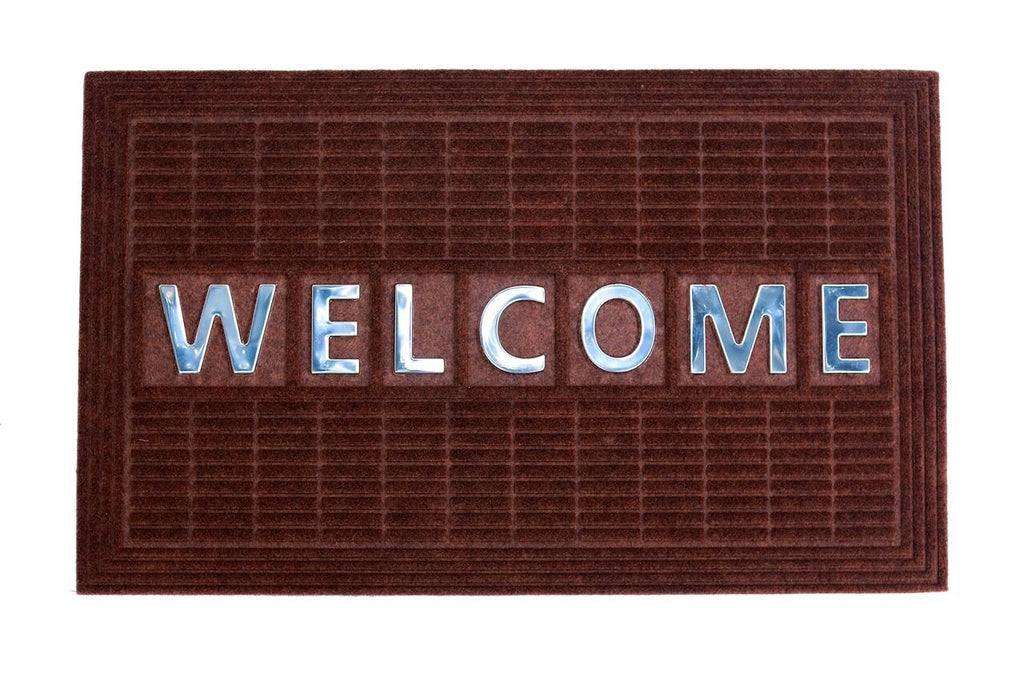 Welcome Steel Insert Synthetic Doormat - Dark Brown