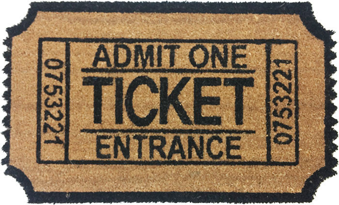 Vinyl Backed Admit One Ticket Shaped Doormat