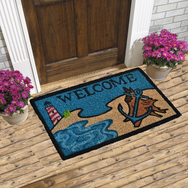 Lighthouse and anchor coco doormat