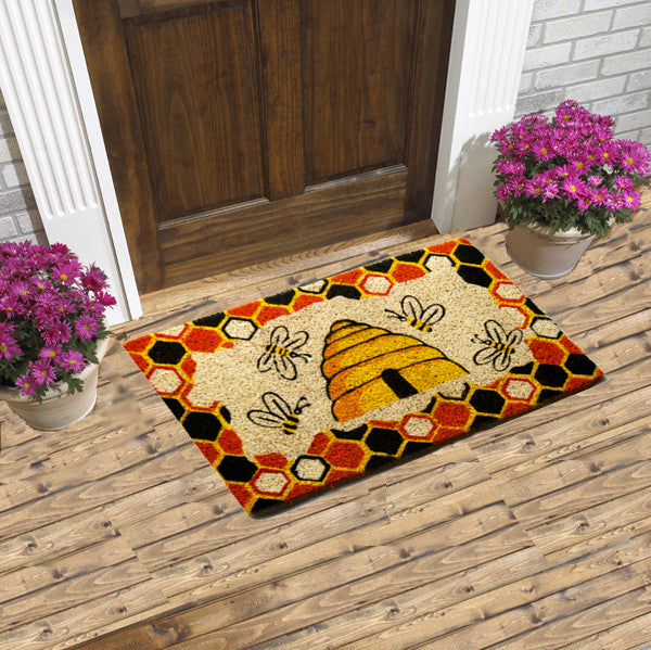 Bee hive coco coir door mat