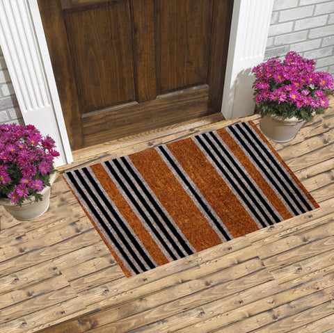 BLACK STRIPES - COCO COIR DOORMATS
