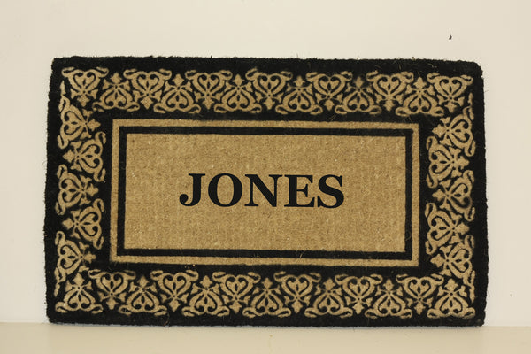 PERSONALIZED COCO MATS - FULL NAME BLOOMING HEARTS BLACK BORDER