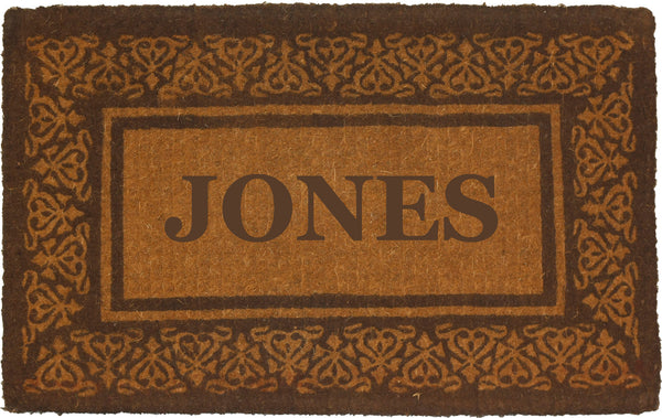 PERSONALIZED COCO MATS - FULL NAME BLOOMING HEARTS BROWN BORDER