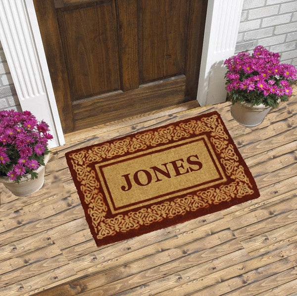 PERSONALIZED COCO MATS - FULL NAME BLOOMING HEARTS RED BORDER