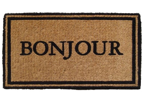 french coir welcome mat- Bonjour