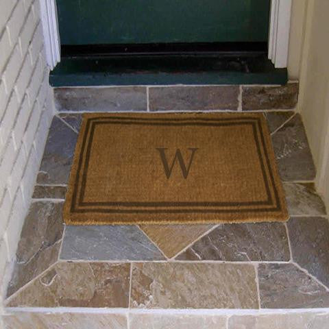 monogram mat double border brown