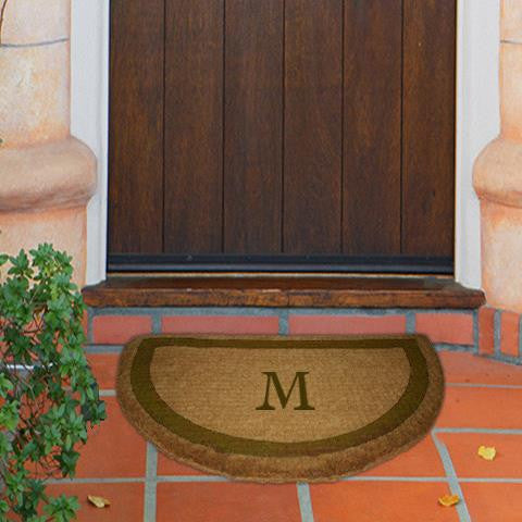 monogram mat single border brown