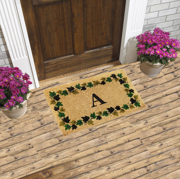 PERSONALIZED DOORMAT - VINE BORDER - MONOGRAM