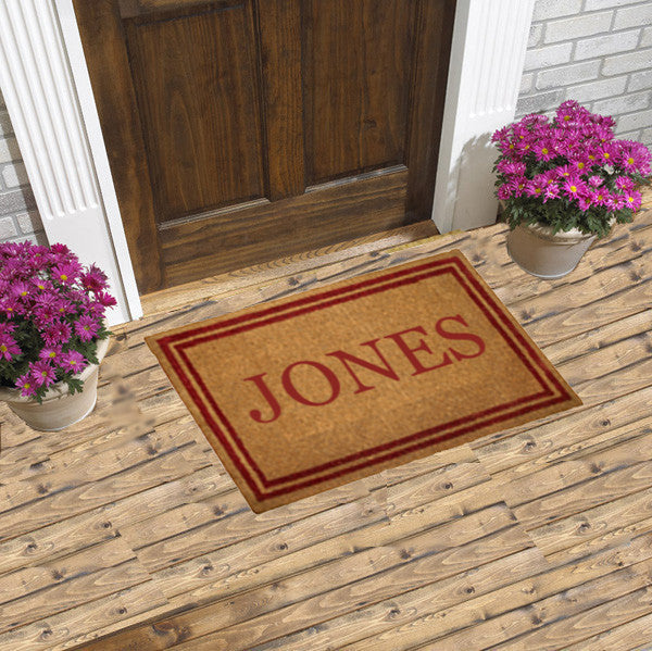 PERSONALIZED COCO MATS - DOUBLE RED BORDER