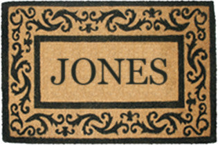 PERSONALIZED COCO MATS - FULL NAME ROLLING SCROLLS BLACK BORDER