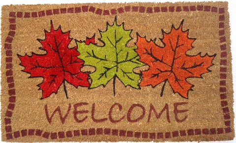 Autumn Maple Leaves Vinyl Coir Doormat
