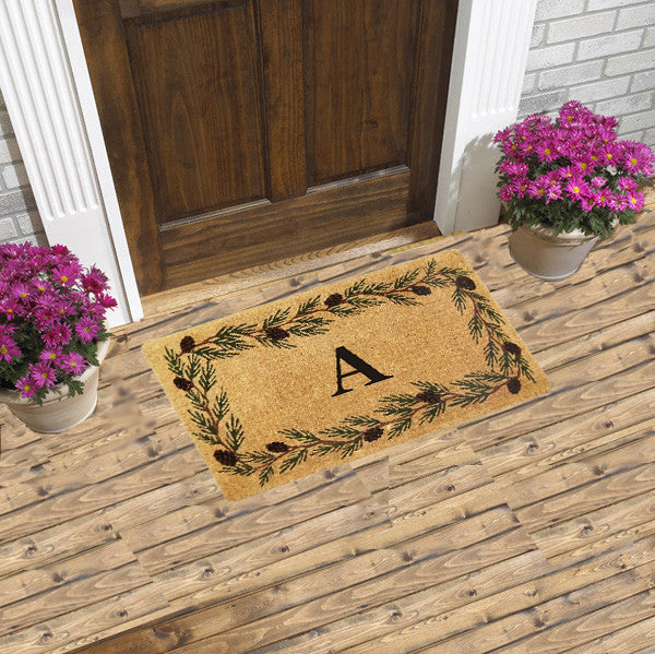 PERSONALIZED MAT - EVERGREEN BORDER - MONOGRAM