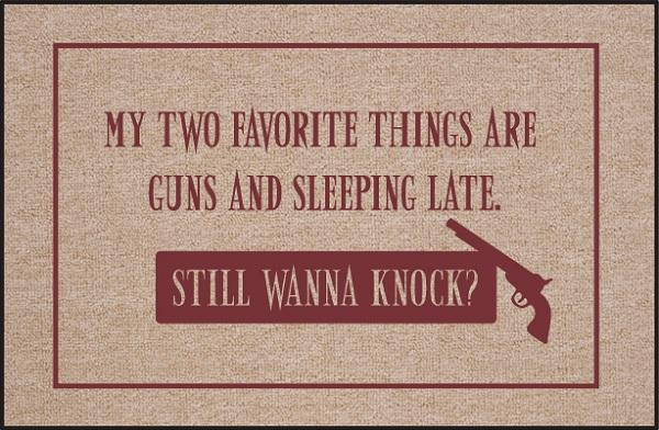 ***DISCONTINUED*** FUNNY DOORMAT - GUNS AND SLEEPING LATE