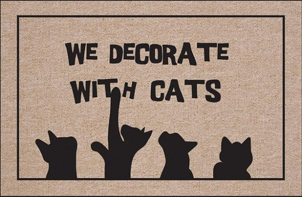 We Decorate with Cats Olefin Doormat