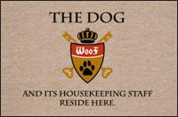 FUNNY 'DOG & HOUSEKEEPING CREST' DOORMAT