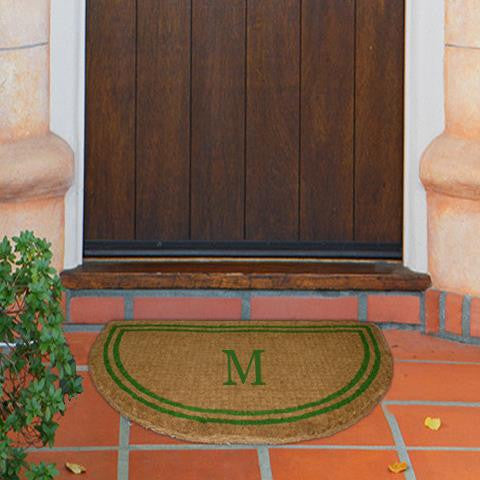 monogram mat double border green half round