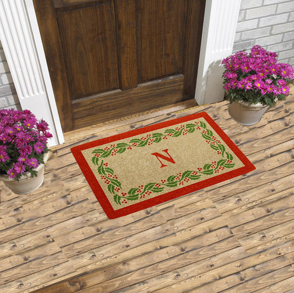 PERSONALIZED DOORMAT - HOLIDAY HOLLY - MONOGRAM